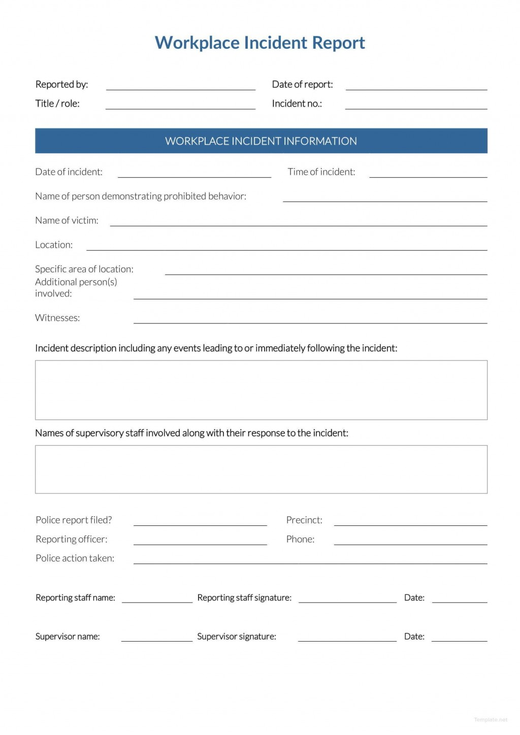 Incident Report Form Template Word Workplace  Downloadable FreeLarge