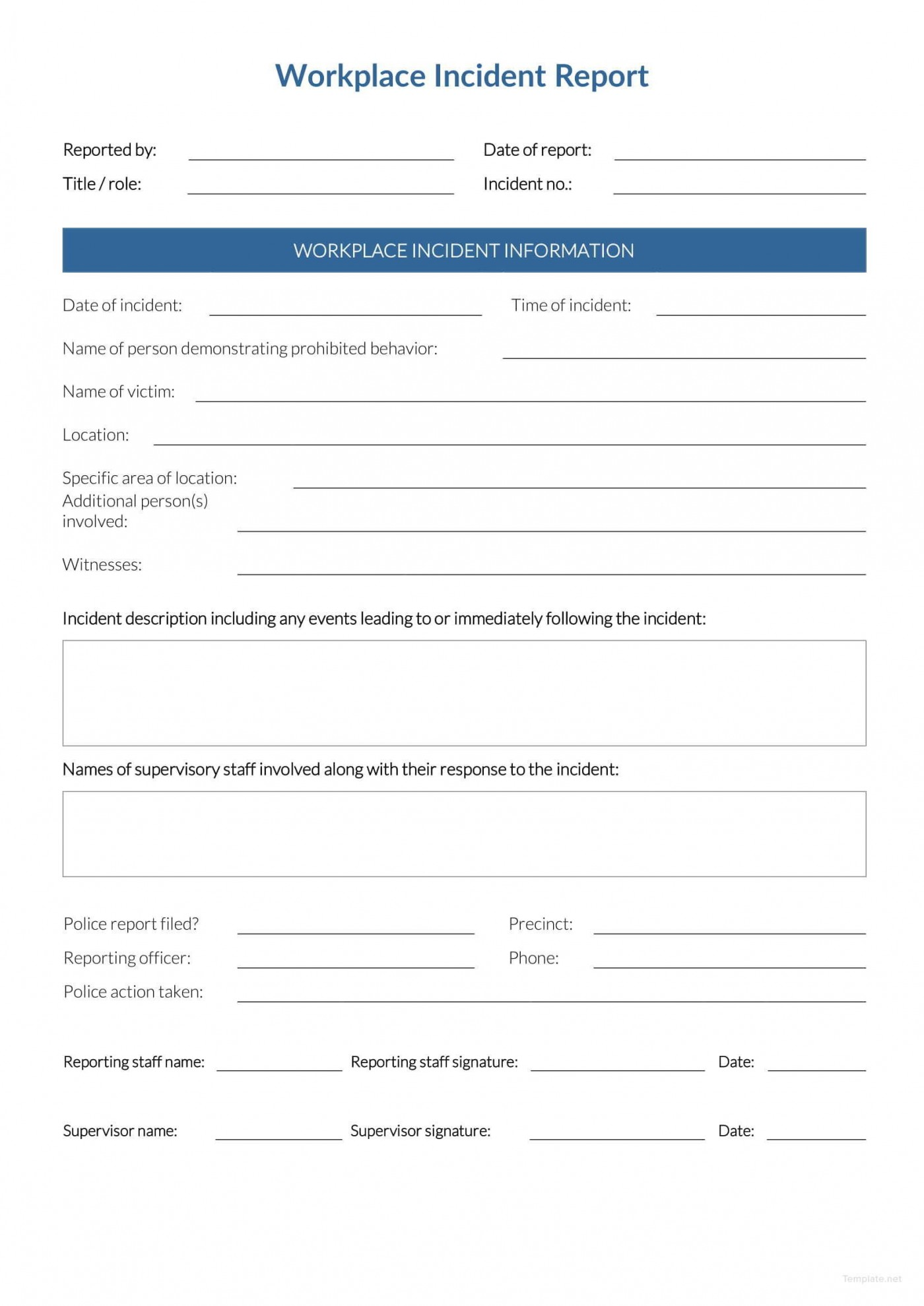 Incident Report Form Template Word Workplace  Downloadable Free1400
