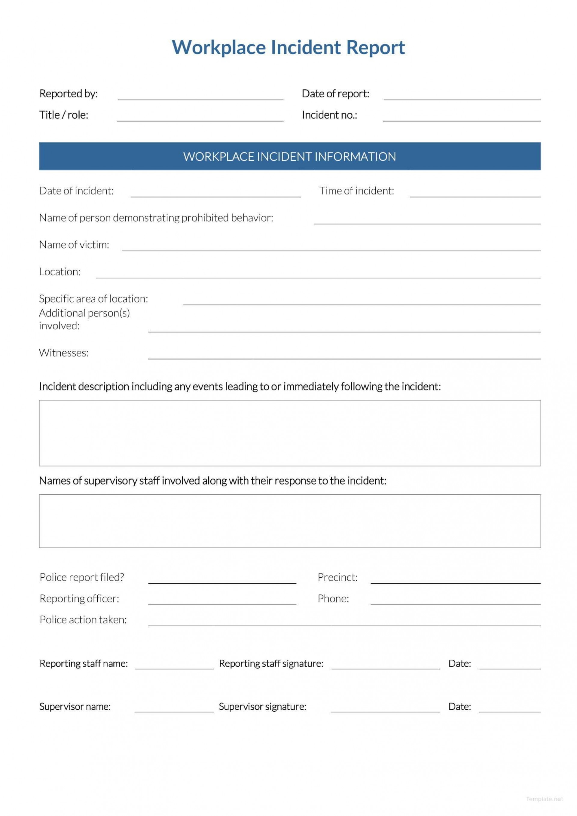 Incident Report Form Template Word Workplace  Downloadable Free1920