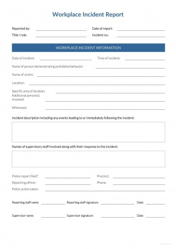 Incident Report Form Template Word Workplace  Downloadable Free360