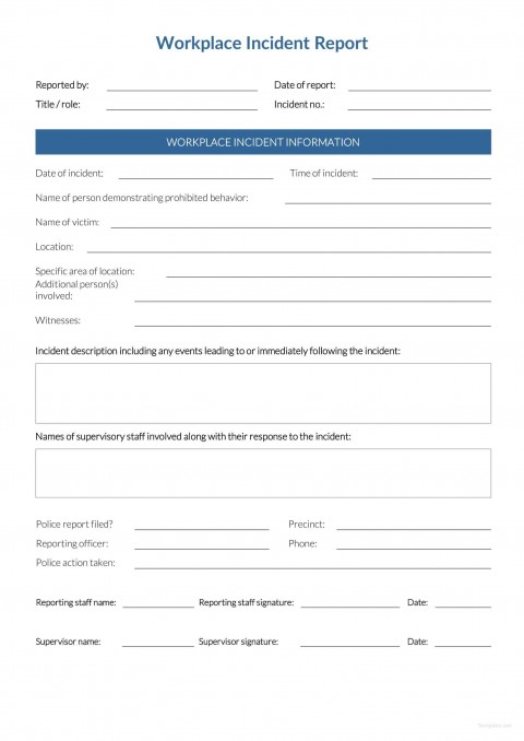 Incident Report Form Template Word Workplace  Downloadable Free480