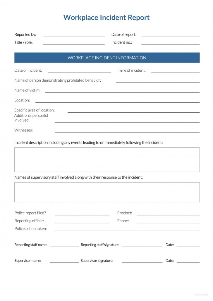 Incident Report Form Template Word Workplace  Downloadable Free728