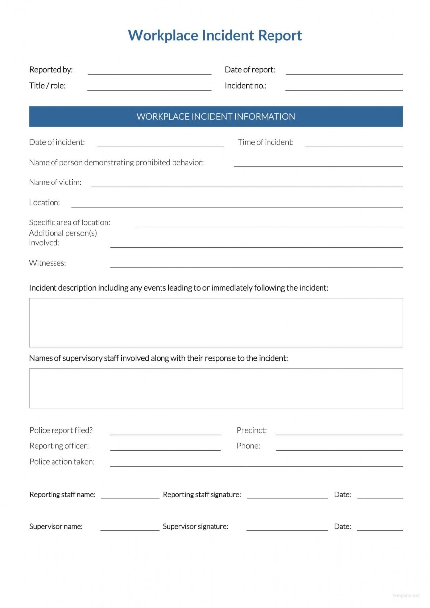 Incident Report Form Template Word Workplace  Downloadable Free868