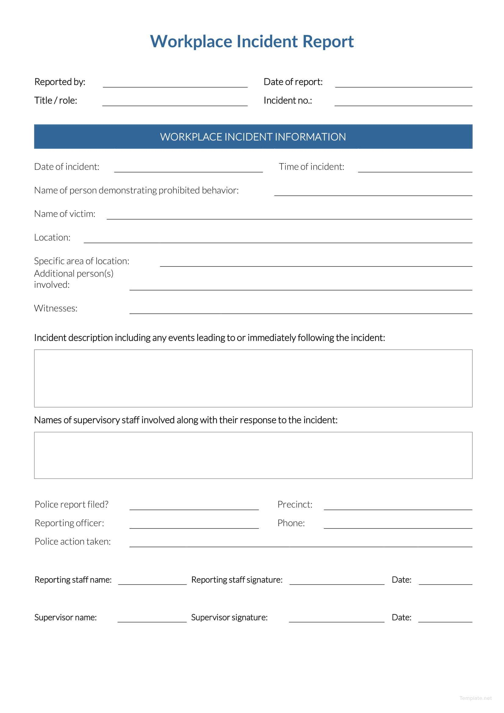 Incident Report Form Template Word Workplace  Downloadable FreeFull