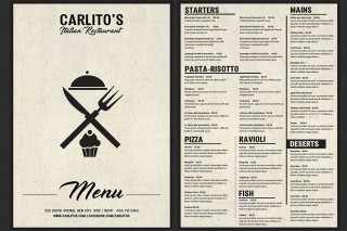 Italian Food Menu Template Free Download  Restaurant Psd Word Html320