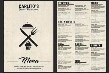Italian Food Menu Template Free Download  Restaurant Psd Word Html360