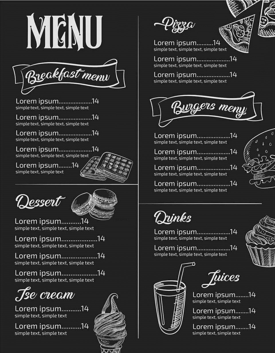 Menu Template Free Download Restaurant  Psd Word Html960