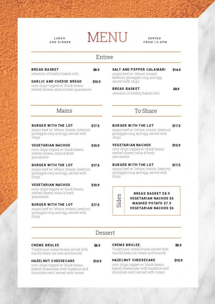 Menu Template Free Download With Price  Restaurant Psd Word Html728