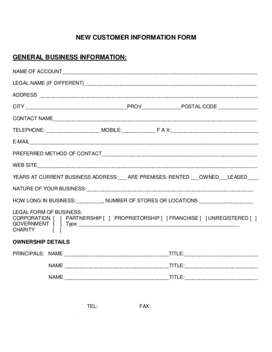Mmu New Customer Form Template  Setup Word Free