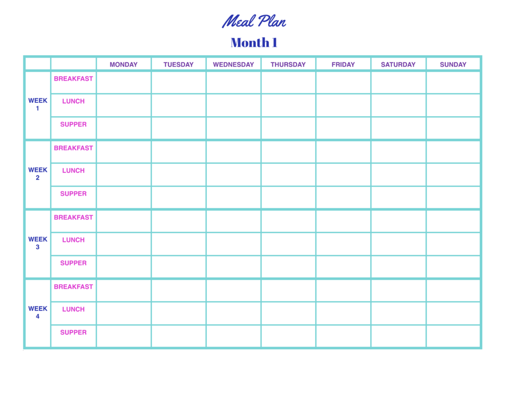 Monthly Free Meal Plan Template  Worksheet Planner For Weight Los ExcelFull