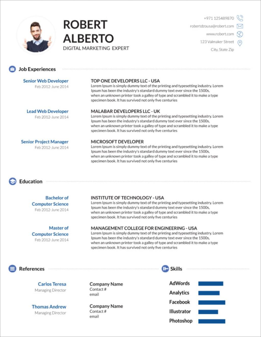 M Word Template Resume Cv  Ms Design Creative Free Download 2020Large
