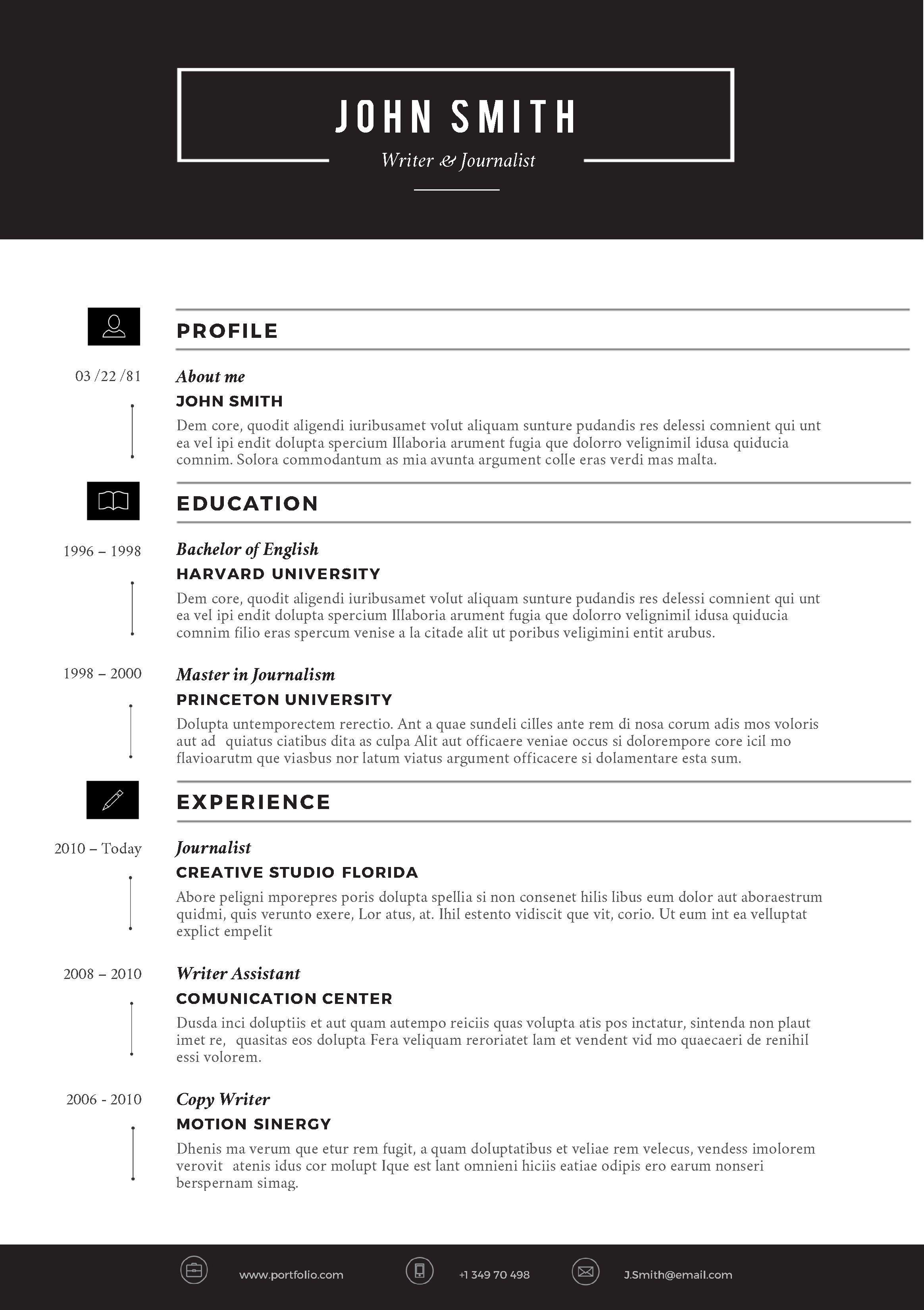 M Word Template Resume Sample  Ms Design Creative Free Download 2020Full