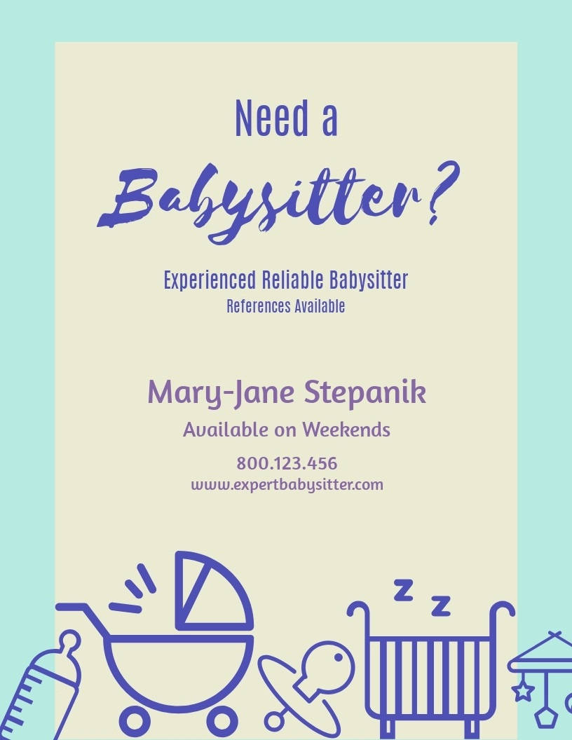 Need Free Babysitting Flyer Template  Printable Download Microsoft WordFull