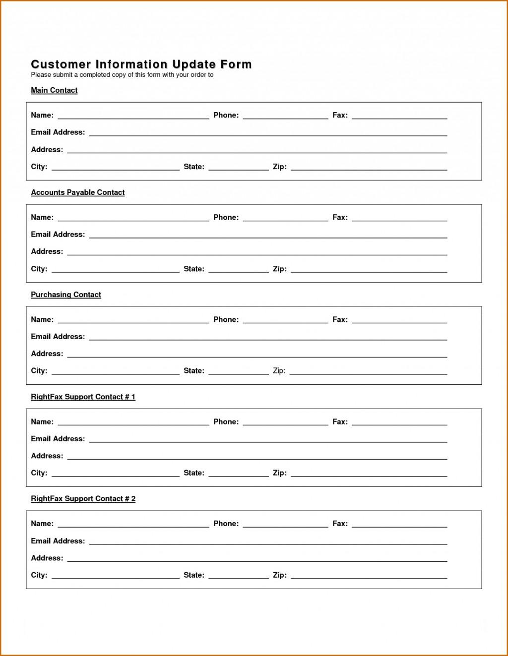 New Customer Information Update Form  Template Uk Account SetupLarge