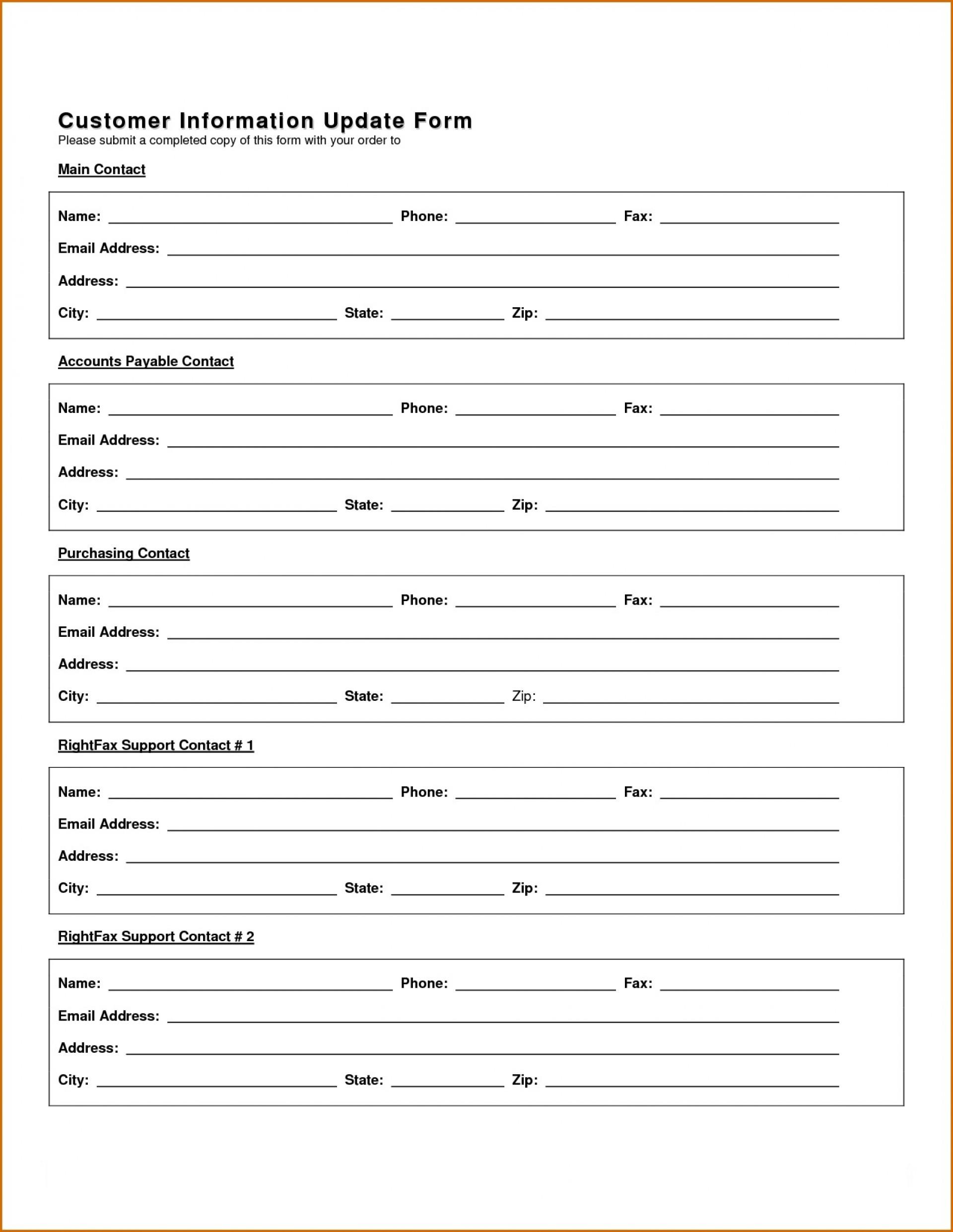 New Customer Information Update Form  Template Uk Account Setup1920