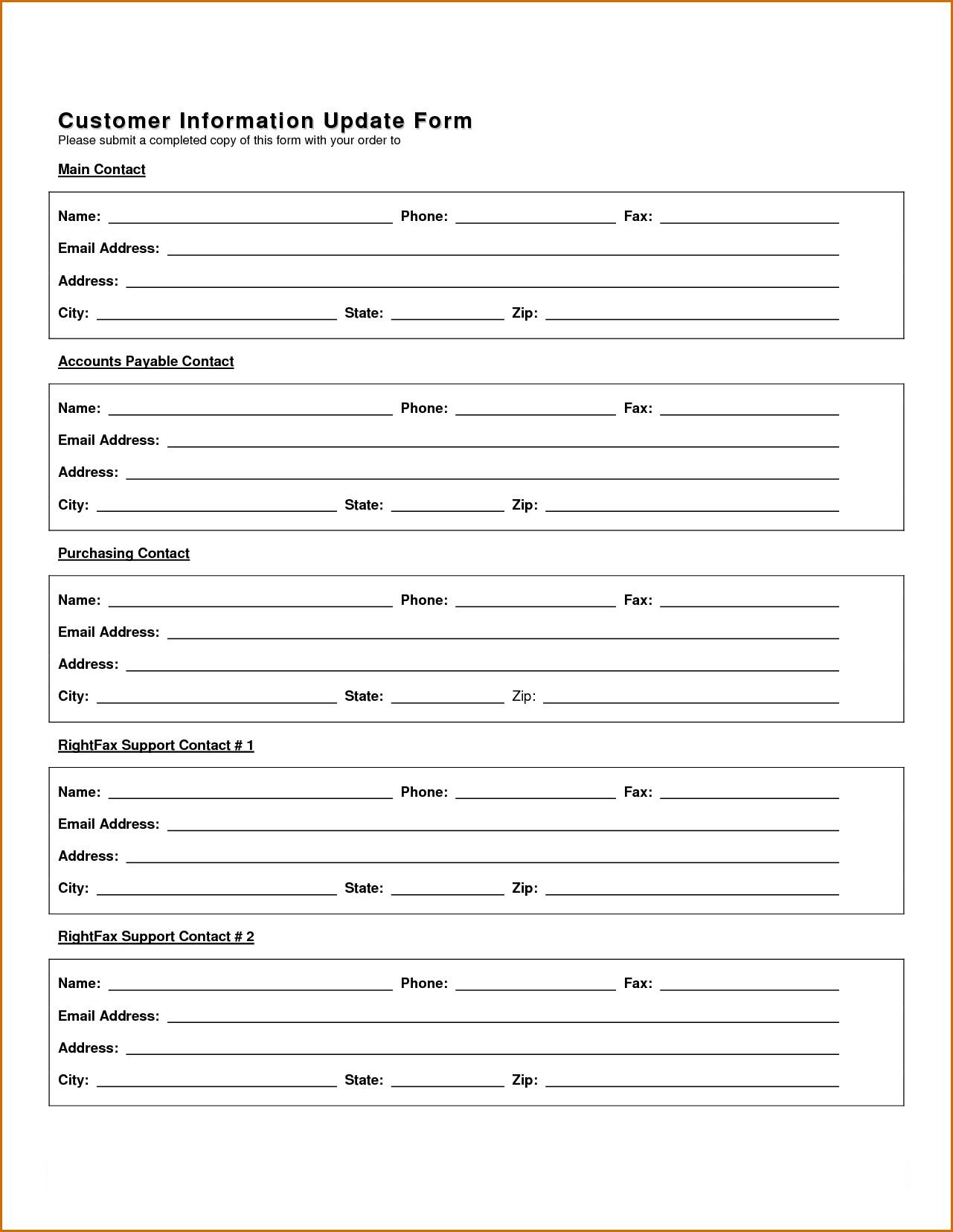 New Customer Information Update Form  Template Uk Account SetupFull
