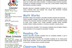 Newsletter Template Microsoft Word Free For Classroom Kid  Example 2007