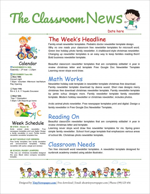 Newsletter Template Microsoft Word Free For Classroom Kid  Example 2007480