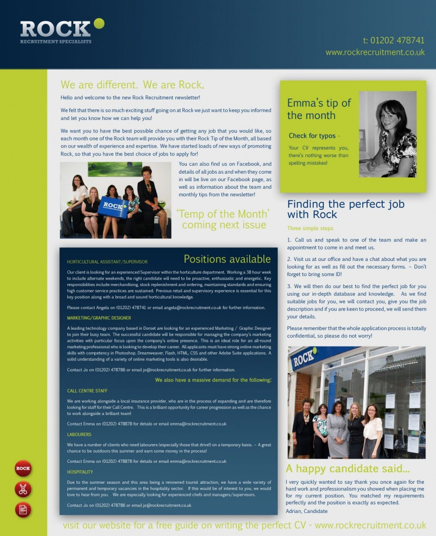 Newsletter Template Microsoft Word Recruitment Idea  Example 2007868