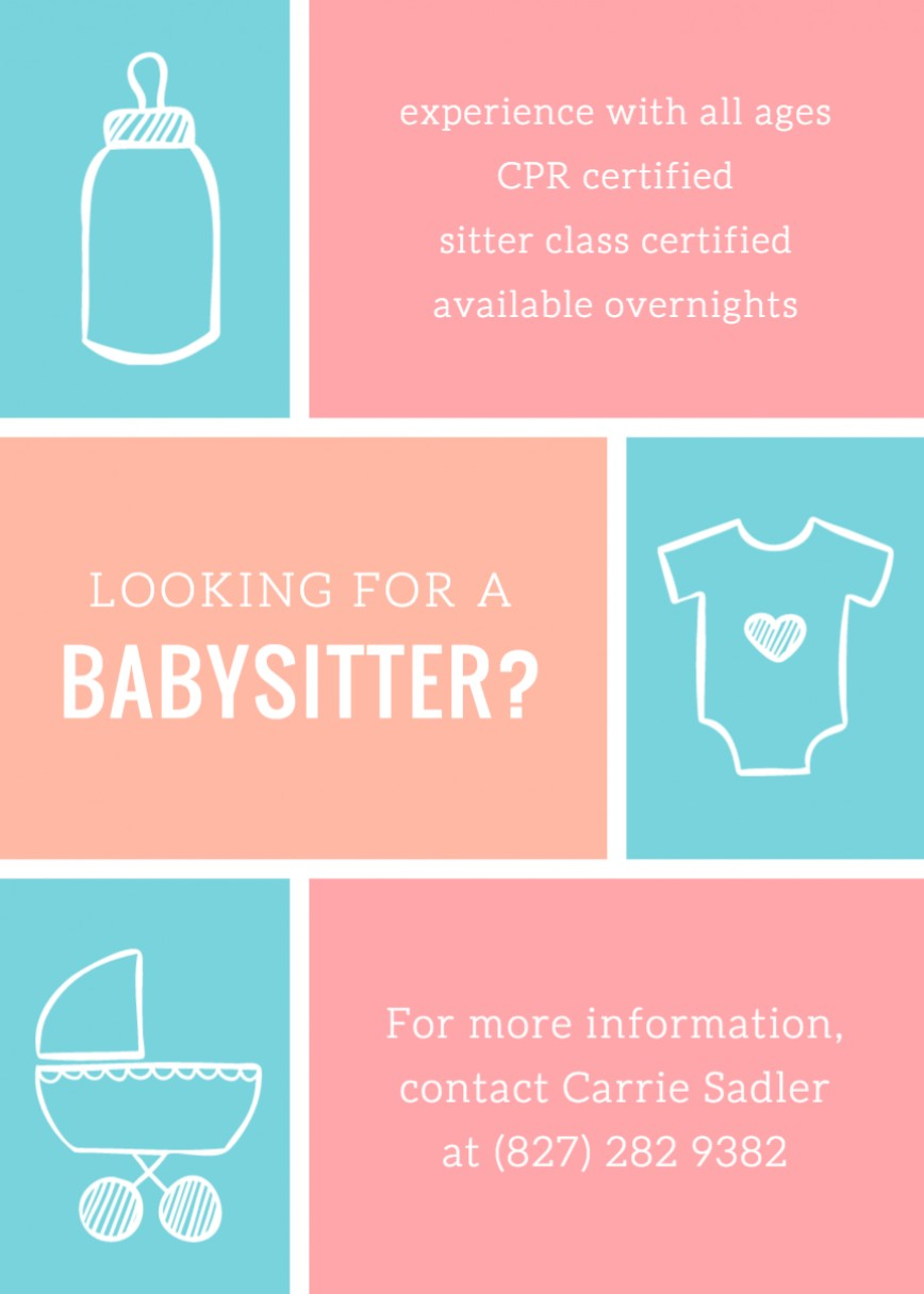 Pink Blue Free Babysitting Flyer Template  Printable Download