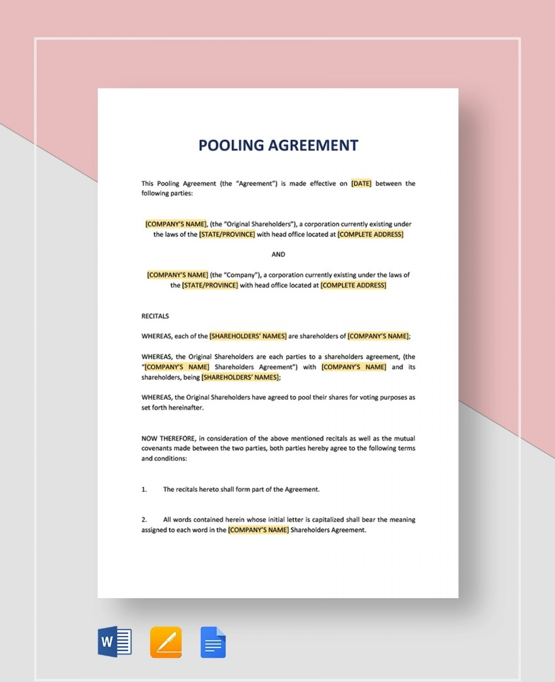 Pooling Agreement Jpg  Template Cash1920