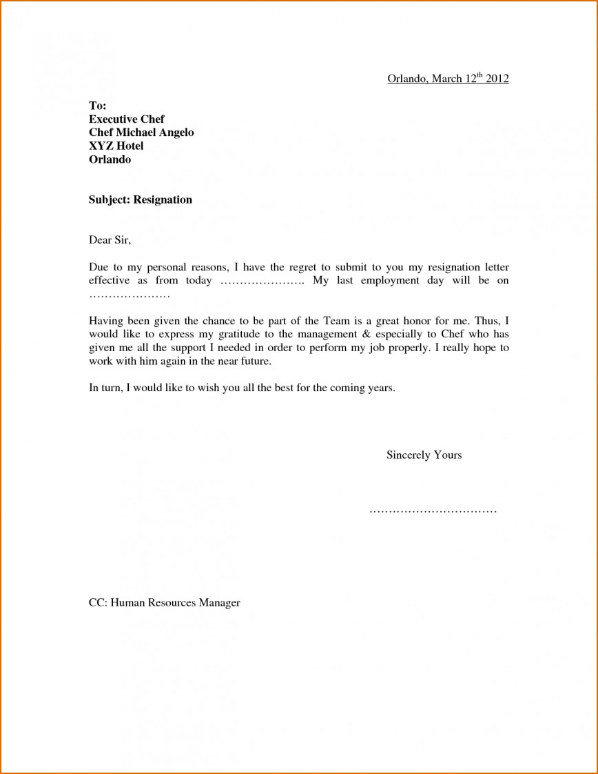 Resignation Letter Template Free from www.addictionary.org