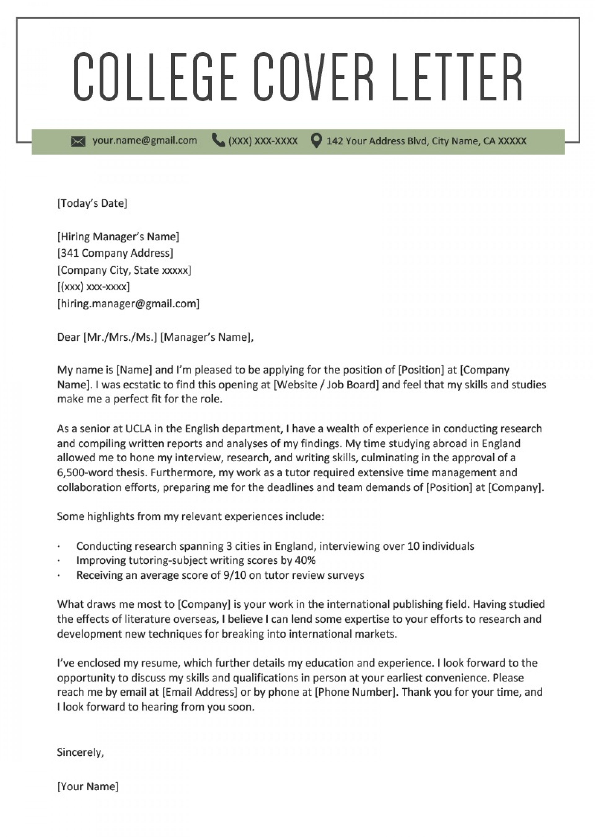 College Cover Letter Template from www.addictionary.org