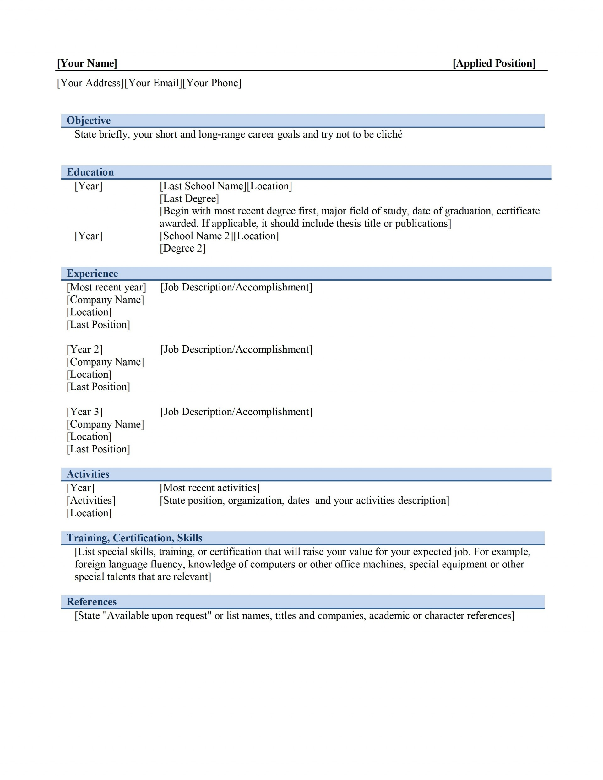 Resume Word Format Job Graphic Designer M  Ms Template Design Creative Free Download 20201920