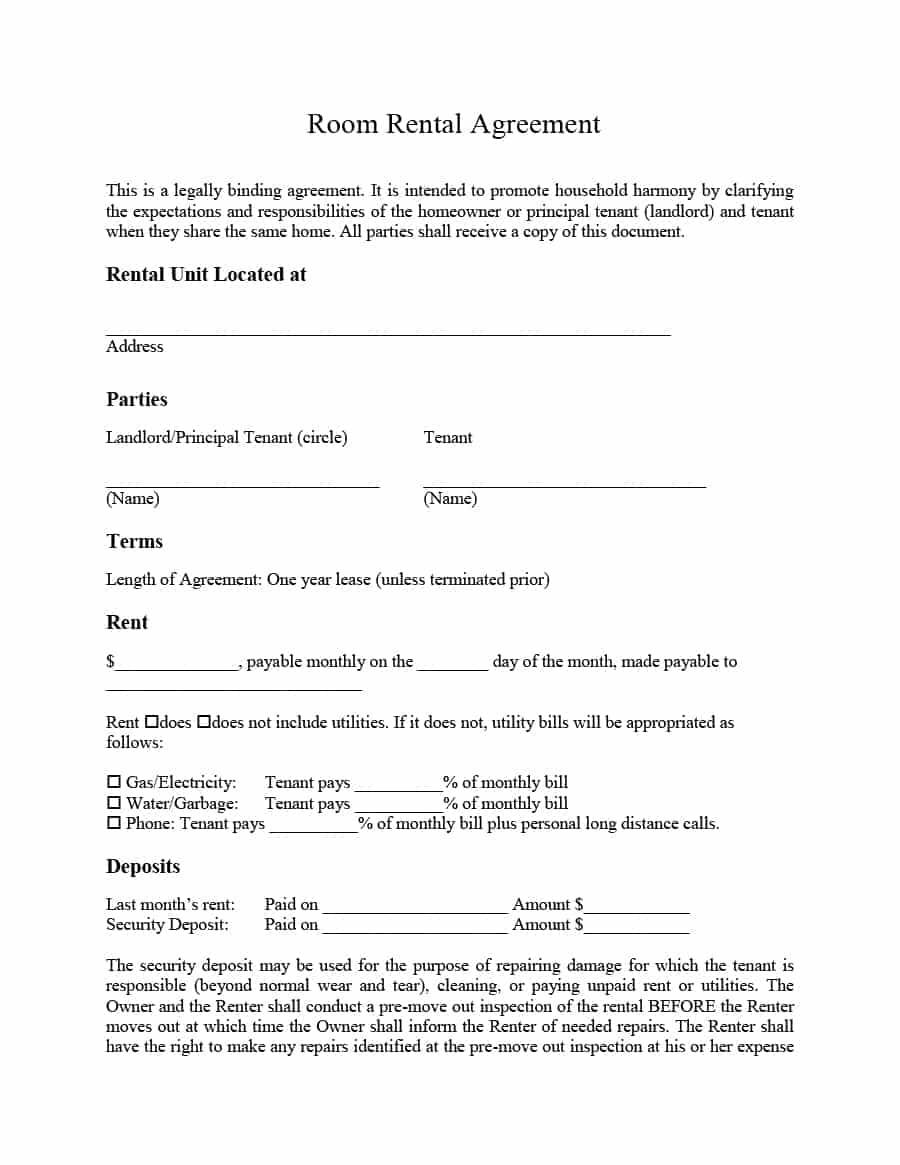 Room Rental Agreement Template Idea  Word Doc Malaysia Singapore PdfFull