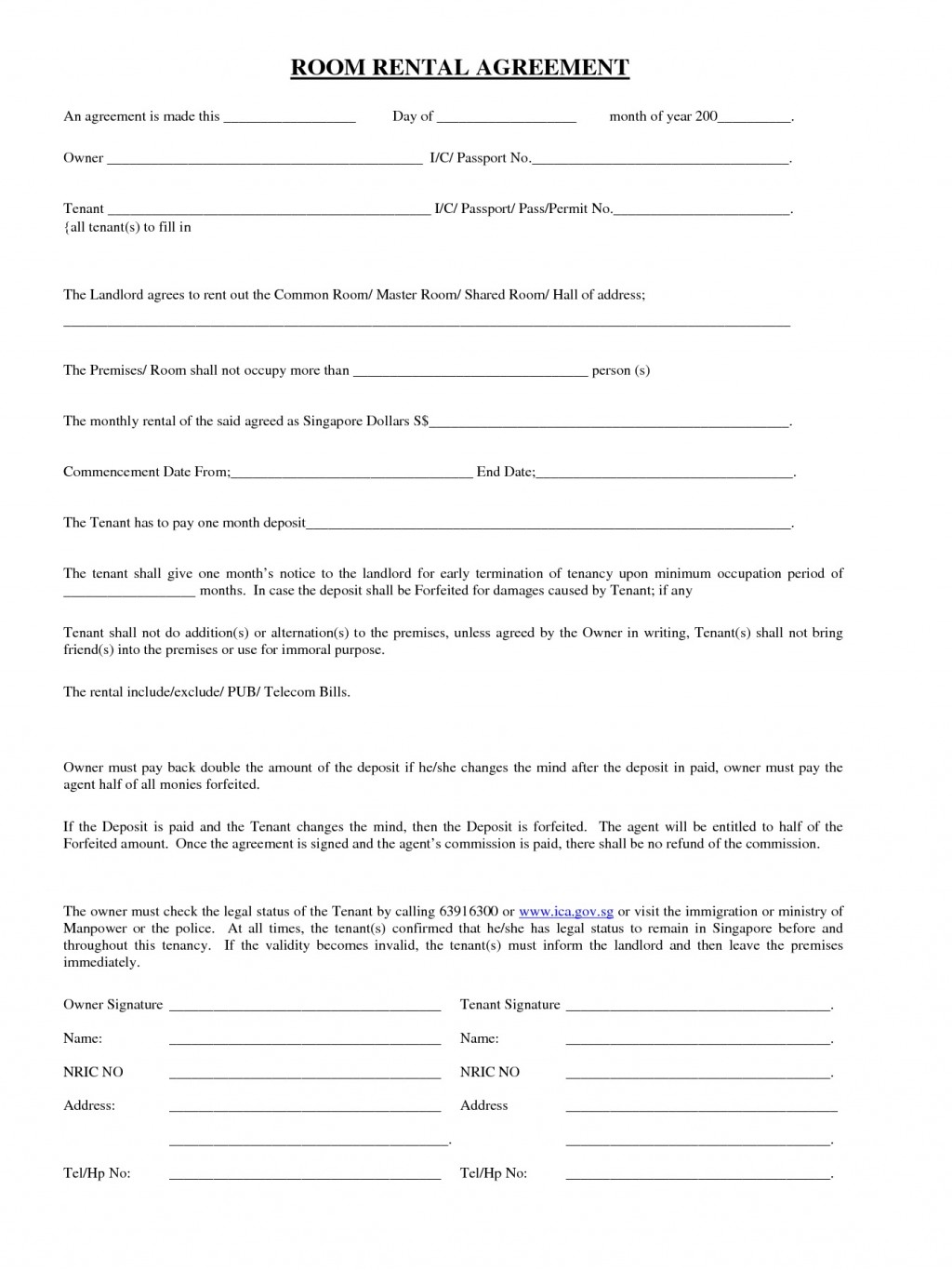 Room Rental Agreement Template Printable Realestate Form  Word Doc Malaysia Singapore PdfLarge
