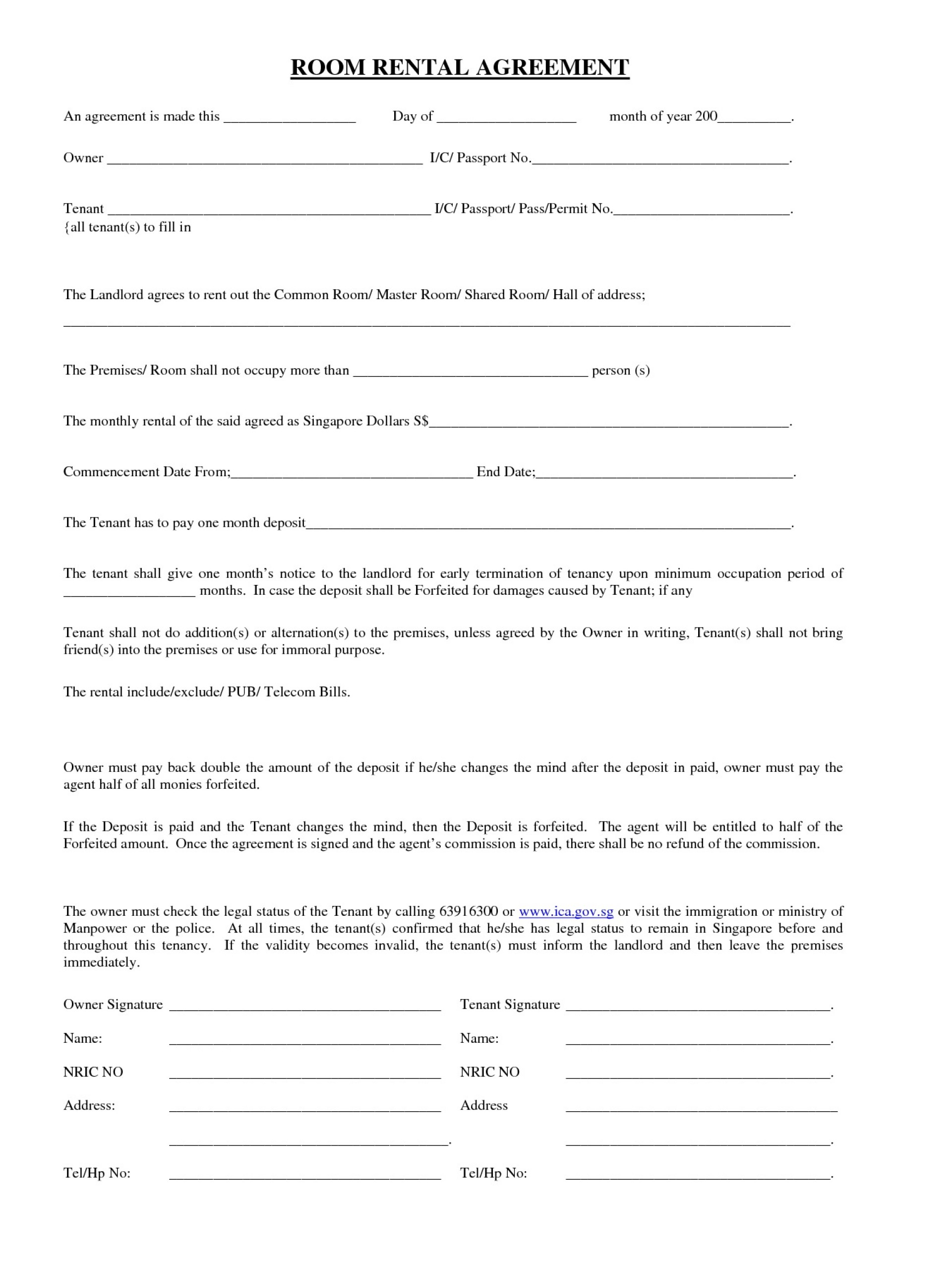 Room Rental Agreement Template Printable Realestate Form  Word Doc Malaysia Singapore Pdf1920