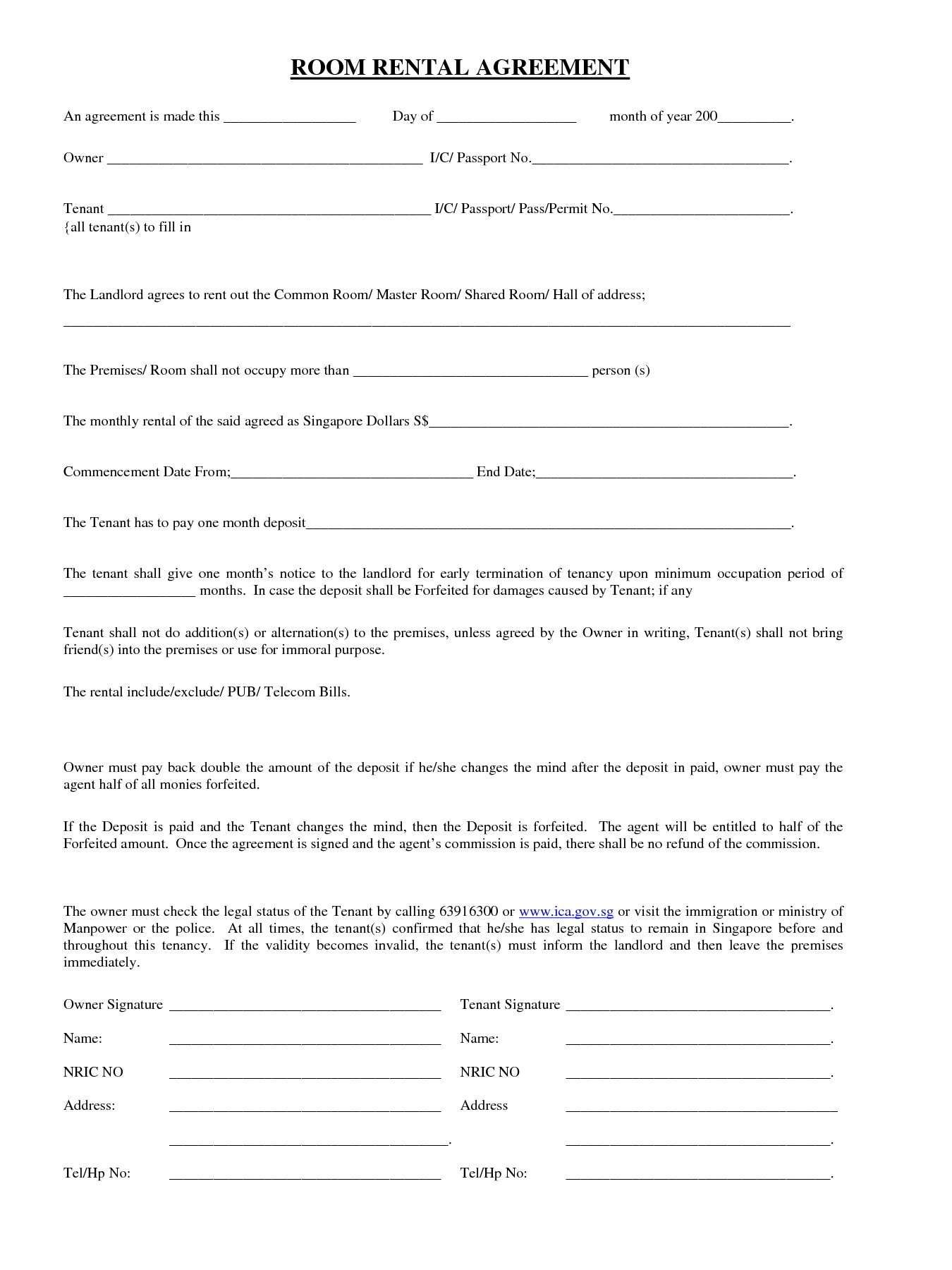 Room Rental Agreement Template Printable Realestate Form  Word Doc Malaysia Singapore PdfFull
