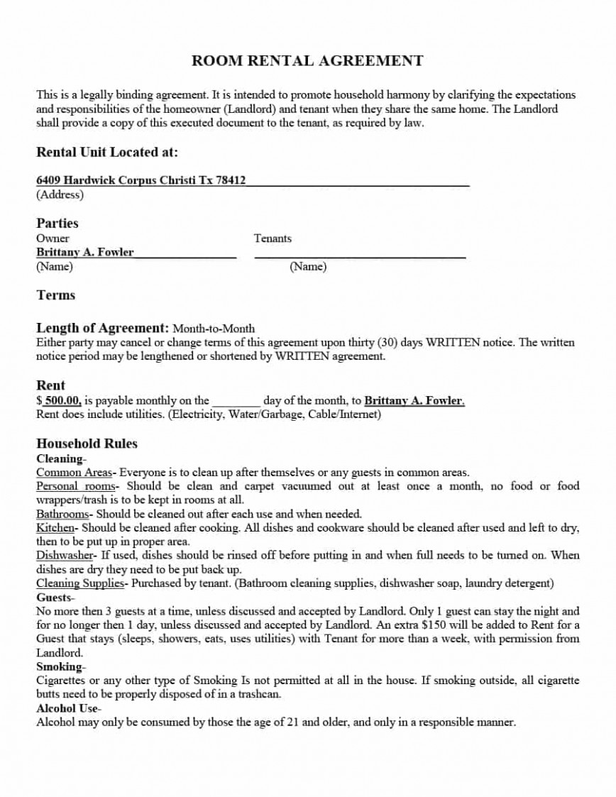 Room Rental Agreement Template Sample  Word Doc Free Lease