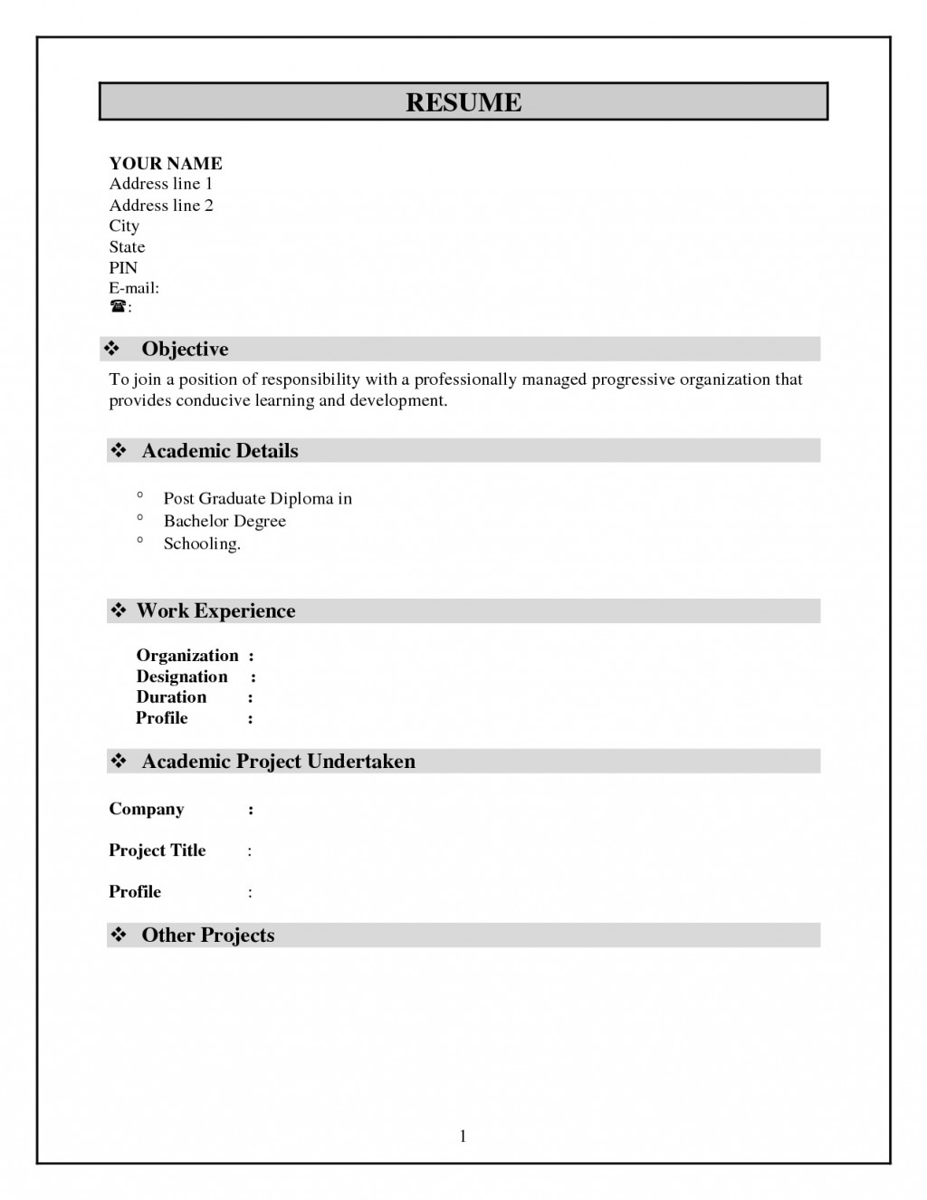 Simple Resume Template Free Download Idea  Word Pdf For StudentLarge