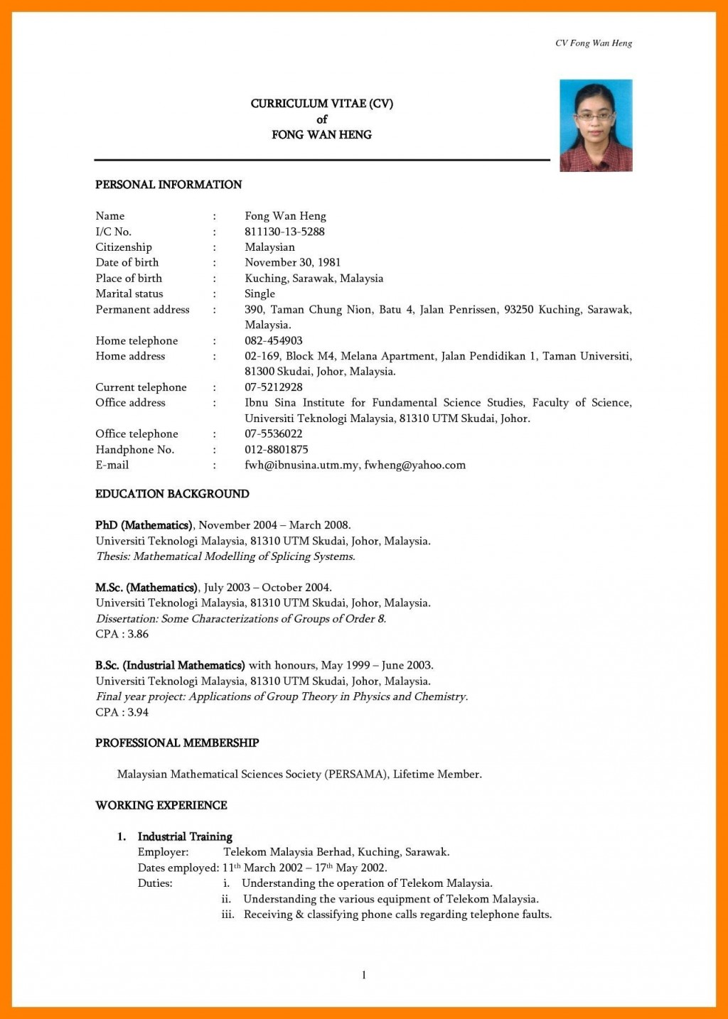 Simple Resume Template Free Download Sample  Word Pdf For StudentLarge