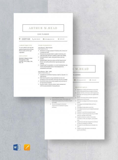 Template Case Planner Resume 480