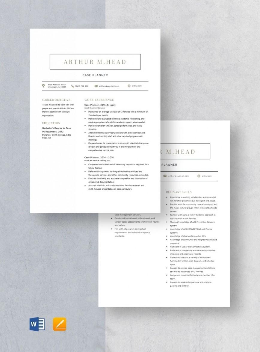 Template Case Planner Resume