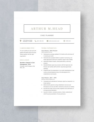 Template Case Planner Resume Idea 360