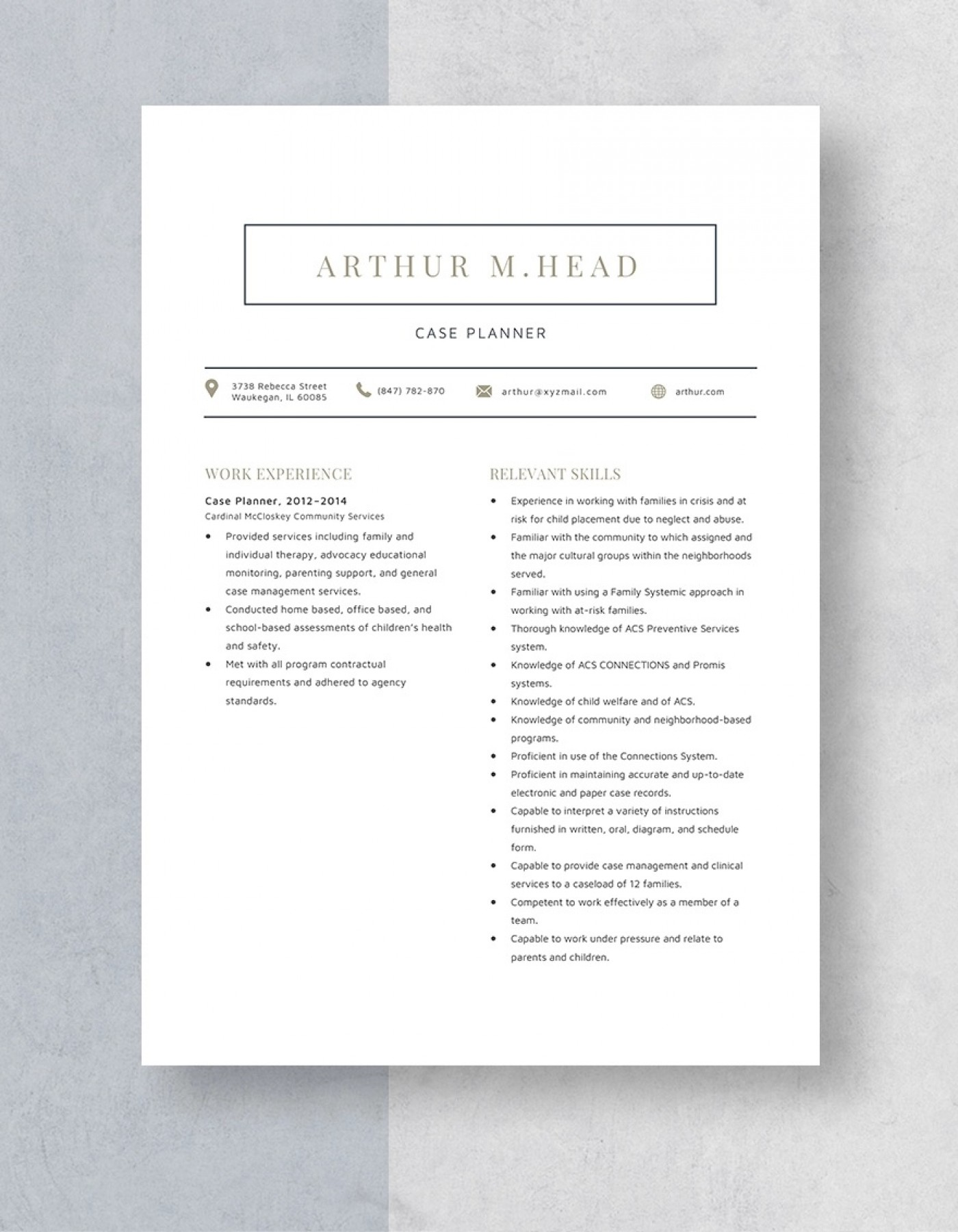 Template Case Planner Resume Sample 1400