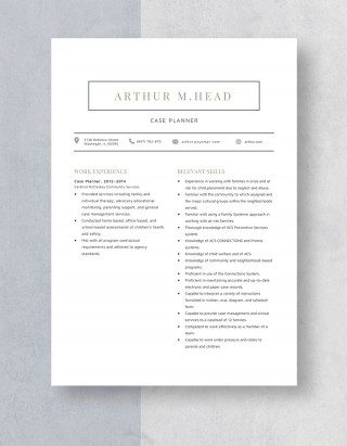 Template Case Planner Resume Sample 320