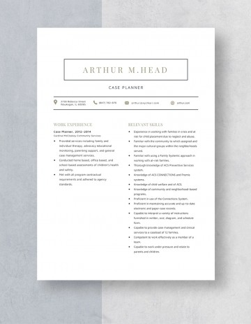 Template Case Planner Resume Sample 360