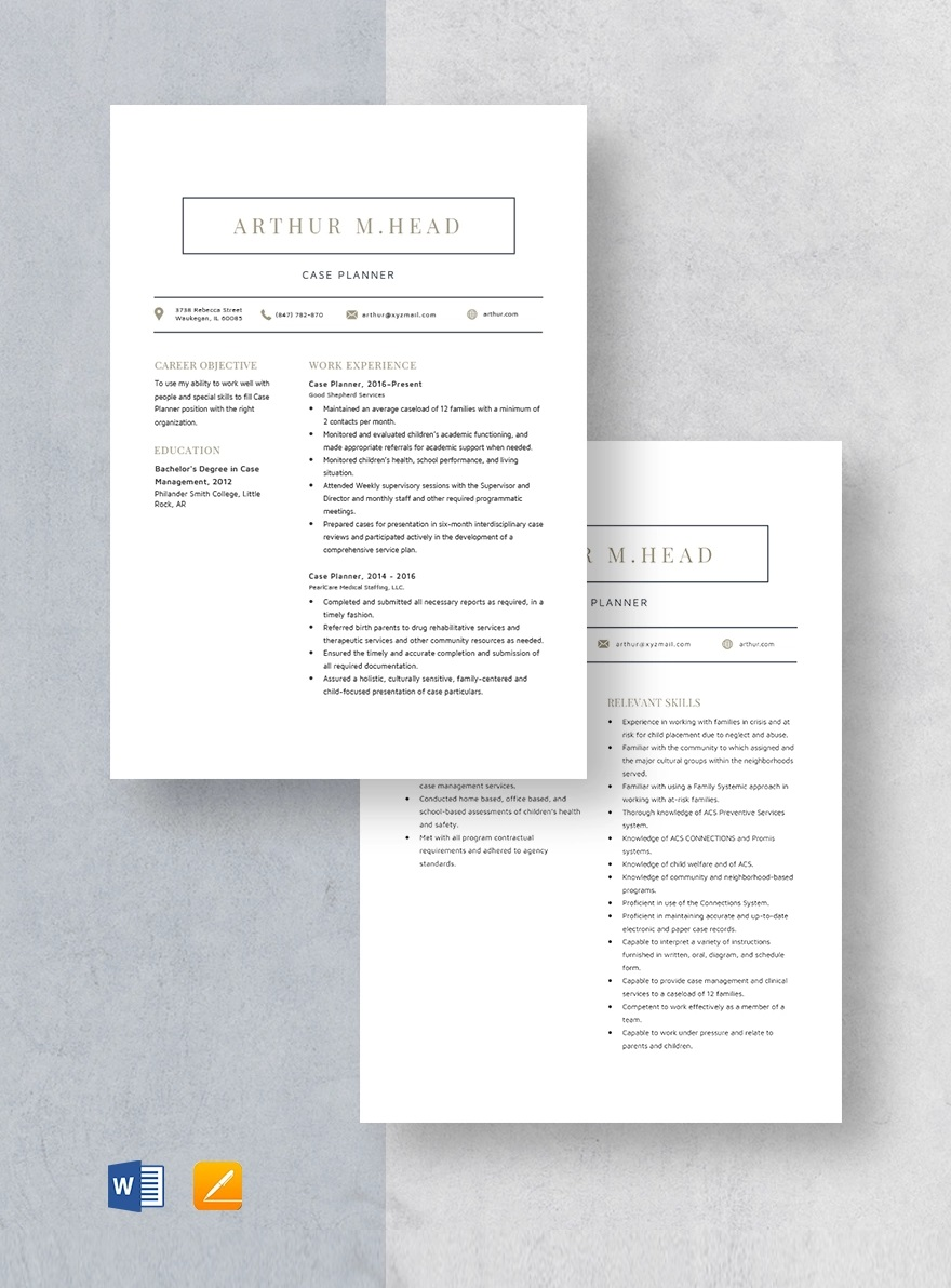 Template Case Planner Resume Full