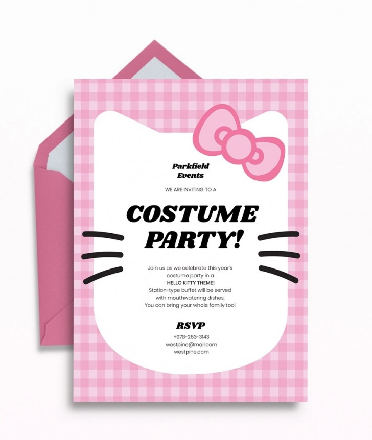 Template Hello Kitty Party Invitation  Birthday Invite Editable728