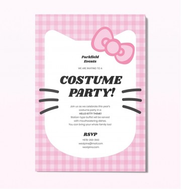 Template Hello Kitty Party Invitation Idea  Birthday Invite Editable360