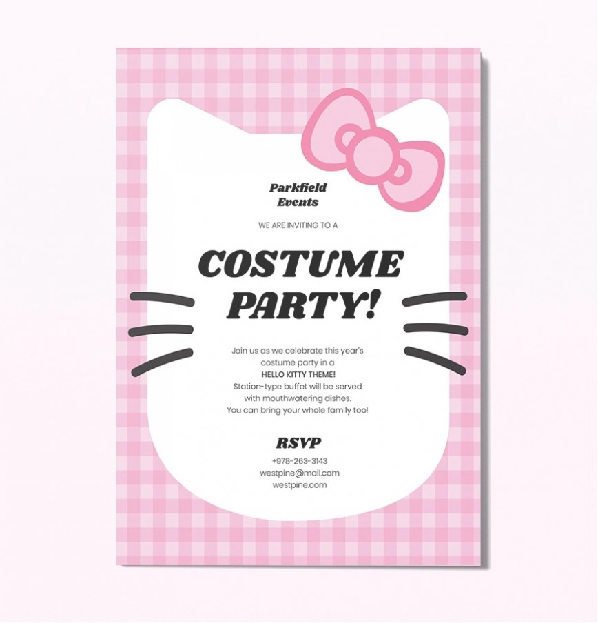 Template Hello Kitty Party Invitation Idea  Birthday Invite Editable868