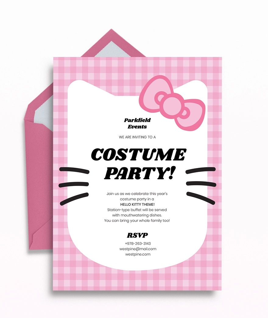Template Hello Kitty Party Invitation  Birthday Invite EditableFull