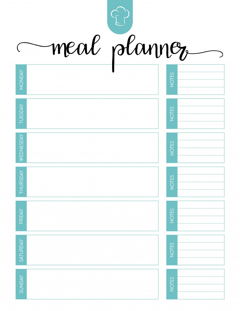 Weekly Free Meal Plan Template With Note  Worksheet Planner For Weight Los ExcelLarge