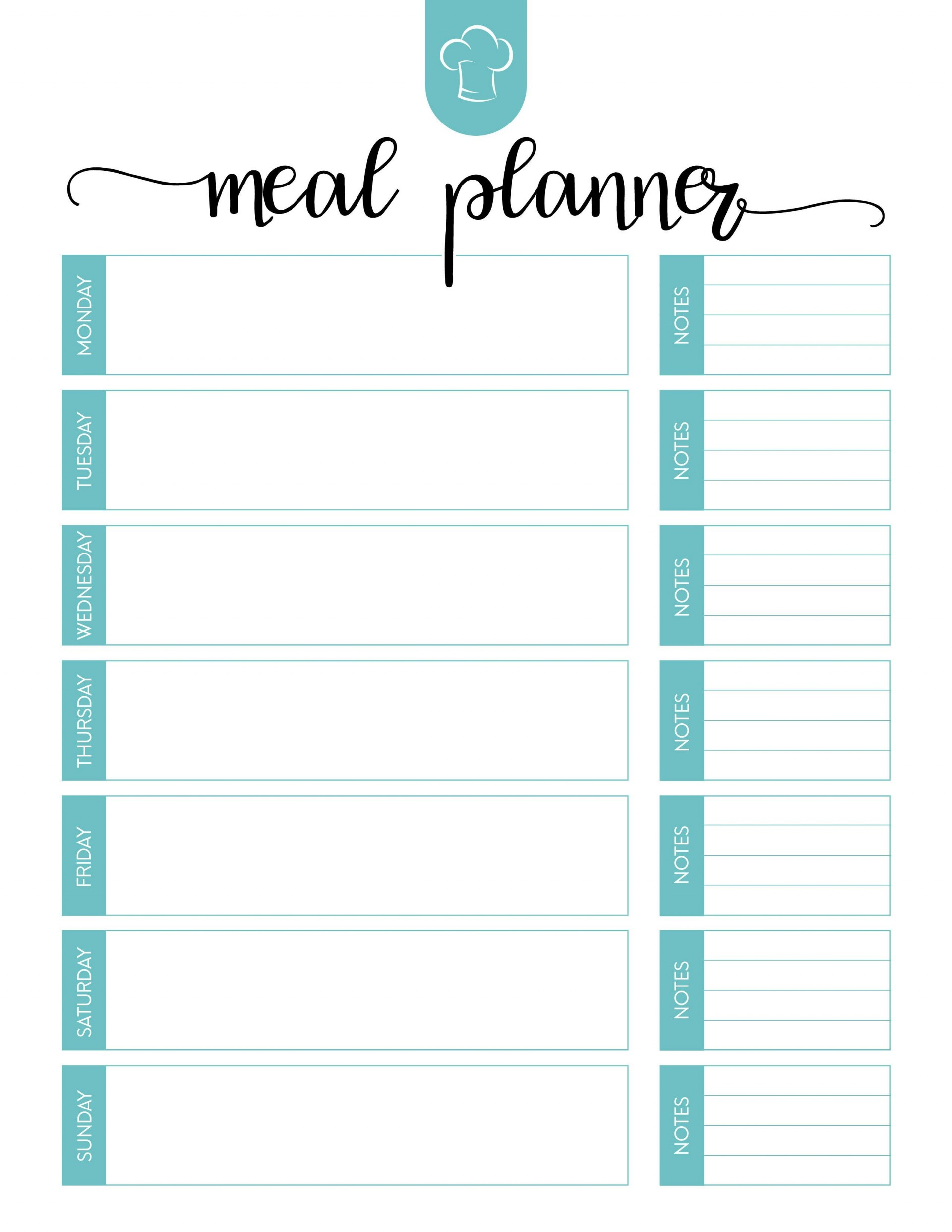 Weekly Free Meal Plan Template With Note  Worksheet Planner For Weight Los Excel1920