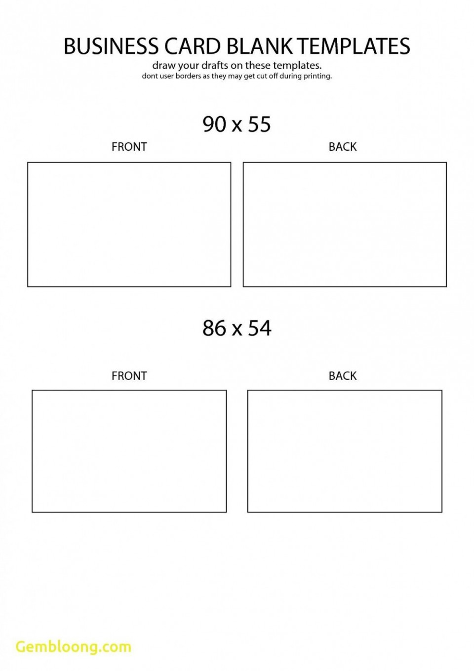 Word Busines Card Template Free Download Simple  Microsoft 2007 Double Sided Blank960
